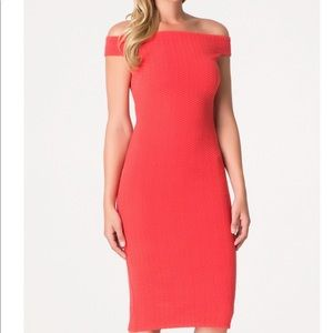 Bebe Midi Red dress off the shoulder dress